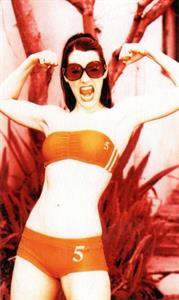 Paget Brewster in a bikini