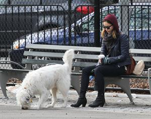 Olivia Wilde out walking her dog in New York City - February 16, 2013
